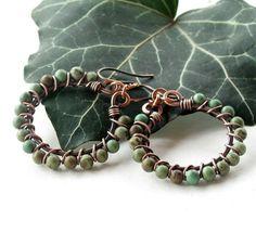 Turquoise hoop earrings  green stone beads  copper by dalystudios, $17.00