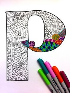Letter P Zentangle Inspired by the font Deutsch