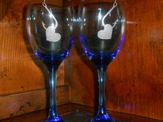 Hooked Hearts - Valentine's Gift Idea - Etched Wine Goblets by TreasuresShop on Etsy