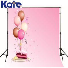 Roze verjaardag achtergrond fotografie Viering party ballonnen cake kate studio…