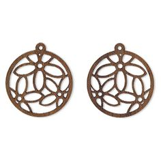 Drop, wood (natural), 25mm flat round with cutout flowers design. Sold per pkg of 2