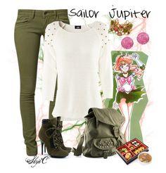 Sailor Jupiter Inspired Outfit by rubytyra on Polyvore featuring H&M, Mavi, Giuseppe Zanotti, Tarina Tarantino, Oscar de la Renta, studs, military, punk, anime and sailor jupiter
