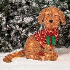 outdoor lighted fluffy dog sculpture christmas yard decor hard to find - Outdoor Lighted Dog Christmas Decorations