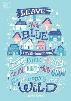 Blue Neighbourhood Lyric Posters in Typography