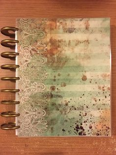 Happy Planner Cover MINT LACE Grunge Tea Stained by planNIRVANA