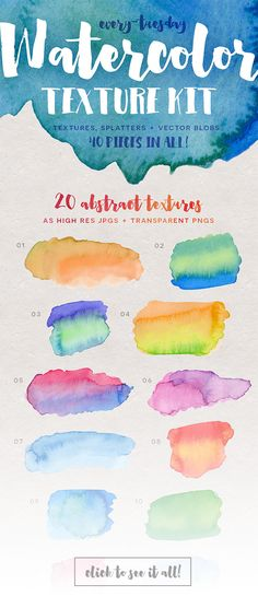 Water color texture kit and a few freebies