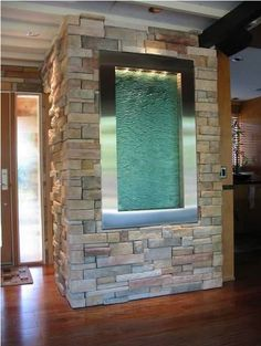 Inside water fountain in stone wall. Great for entryway. Indoor Waterfall Fountain, Indoor Wall Fountains, Tabletop Water Fountain, Indoor Fountain, Water Fountains, Wall Of Water, Water Walls, Indoor Water Features, Fountain Design