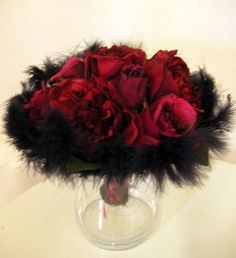 Feather Boa Centerpieces | Bre2Be's feather pom centerpieces : wedding Red Black Feather Cp