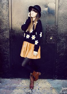 Daisy sweater. This outfit is too cute, probably wouldnt be able to pull it off. Hah.