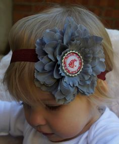 WSU Cougars Baby Headband - Washington State University Headband - Crimson and Grey Headband - WSU Headband - Cougars Bottle Cap Headband. $10.00, via Etsy.