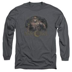 Watchmen/Nite Owl Long Sleeve Adult T-Shirt 18/1 in Charcoal