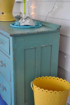 I painted all the furniture in my bedroom these colors of blue and yellow.  I loved my room!