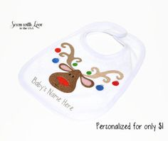 Christmas Reindeer Embroidered Baby Bib   Personalized Bib   Christmas Bib   Baby Bib   Baby's First Christmas   Gifts Under 10   Cute Bibs by SewnWithLoveInTheUSA on Etsy