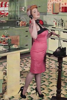 Joan Pin Up girl and 1950's background superimposed