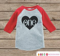 First Birthday Shirt - One Onepiece or Tshirt - Boys 1st Birthday Outfit - Black & Red One Raglan First Birthday Shirt - Boys Raglan Tee