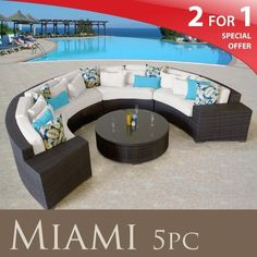 Amazon.com: MIAMI OUTDOOR WICKER PATIO 5 PIECE SET IVORY FREE EXTRA COVER: Patio, Lawn & Garden