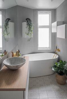 Terrazzo, Bathroom Inspo, Bathroom Ideas, Minimalist Bathroom, Bathroom Interior Design, Bathtub, Shower, Trendy Tree, Natural Stones