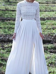 White Lace Slit Pleated Round Neck Long Sleeve Elegant Maxi Dress Ball Gown Source by Elegant Maxi Dress, White Maxi Dresses, Ball Dresses, Ball Gowns, White Dress, White Long Sleeve Dress, Dresses Dresses, Comfy Dresses, Nice Dresses
