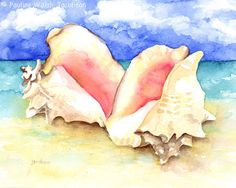 Watercolor Painting Conch Shells on Beach