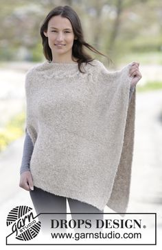 """Knitted DROPS poncho in garter st and stockinette st with cable in """"Alpaca Bouclé"""". Size S-XXXL. ~ DROPS Design"""