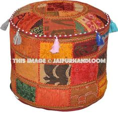 Bohemian Vintage Indian Ottoman Stool Cover by BeingGypsy on Etsy Chair Cushion Covers, Stool Covers, Ottoman Stool, Ottoman Cover, Round Floor Pillow, Floor Pillows, Ikea Pouf, Vintage Patches, Vintage Bohemian