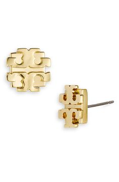 Always a favorite | Tory Burch large logo stud earrings