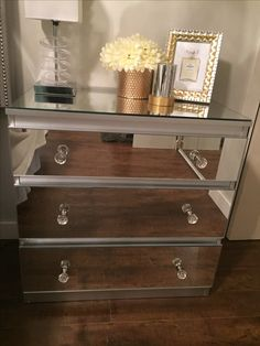IKEA HACK. These use to be the IKEA Kullen side tables. These are one of my favourite Furniture DIY's to date. Since so many of you have request I share how I made these, I will post a short step by step here! Please tag me if you decide to recreate these I would love to see them! Thank you! -Measure all surfaces you want mirrors added to. -Figure out where you want holes drilled For knobs. -Go to your local glass/mirror shop and ordered them. You can provide your own mirrors or buy the...