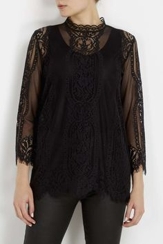 Black High Neck Lace Shell Top