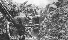 WWI Muddy German trench