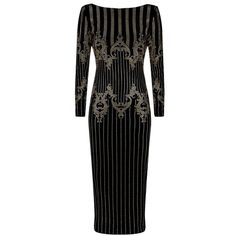 Balmain Embellished Cotton Velvet Midi Dress ($2,165) ❤ liked on Polyvore featuring dresses, slim fit dress, embelished dress, shoulder pad dress, midi dress and balmain dress