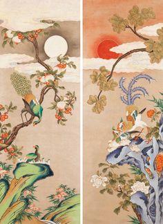 대한민국민화공모대전 - 임지윤 - 봉황화조도 Korean Art, Asian Art, Chinese Style, Chinese Art, Chinoiserie Wallpaper, Bird Drawings, Cool Artwork, Cherry Blossom, Illustration