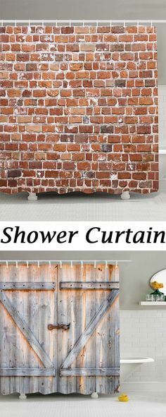 Brick Wall Design Anti-bacteria Shower Curtain