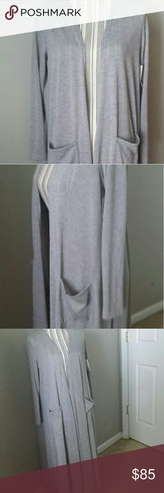 Lularoe Sarah Size medium Sarah duster! Love this but I have a blue one as well and need the money. This has only been tried on. See final picture of the heathered gray up close. LuLaRoe Sweaters