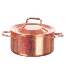 Copper saucepans pots for 1:12 Scale dollhouse miniature metal set//4pcs
