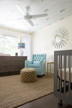 Love the chair and dresser...not to mention that ceiling wallpaper. 10 Cheap IKEA Rugs Meet Real Kids' Rooms