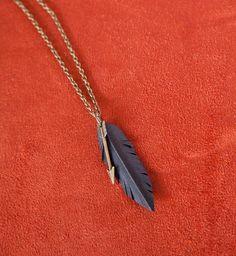Vegan Feather & Arrow Necklace -small. $28.00, via Etsy.