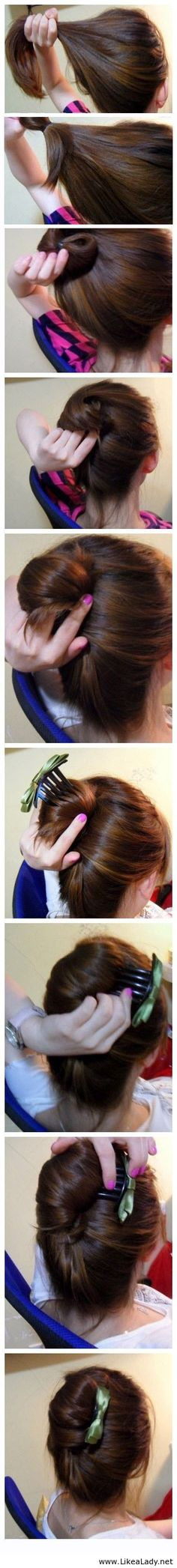 Beautiful hairstyle tutorial with a cute hair accessory