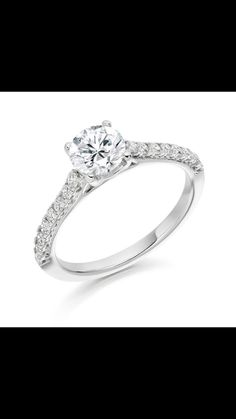 Beautiful solitaire diamond set in four claws of white gold with alluring Castile set diamond shoulders. Solitaire Diamond, Dublin, Claws, Diamonds, White Gold, Engagement Rings, Beautiful, Enagement Rings, Wedding Rings