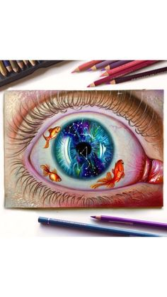 Galaxy eye drawing with fishes ♡.♡