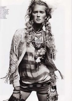 Urban Native American Fashion - Vogue Spain April 2011 Editorial Features the Fierce Toni Garrn