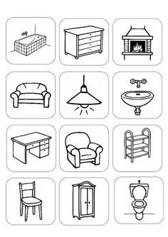 Risultati immagini per house furniture worksheets Art Drawings For Kids, Drawing For Kids, English Lessons, Learn English, Preschool Worksheets, Toddler Worksheets, Lessons For Kids, Interactive Notebooks, English Vocabulary