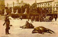 Barcelona 19 de julio de 1936. Tras la batalla contra los rebeldes los Guardias civiles de la columna del coronel Escobar se reagrupan en la plaza de Cataluña. Al fondo unos Guardias de asalto que también han participado en la lucha. Las acémilas que yacen en el suelo provienen de las unidades facciosas de artillería.