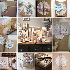 doillies. Envoltorios de papel craft y blondas