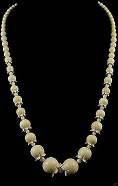 Incredibly Ivory Carved Lily of the Valley Bead Necklace 1900