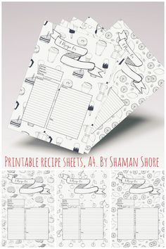 Blank Recipe Cards, Fun Printable Recipe Templates, Happy Recipe Planner Sheets, Recipe Pages A4 PDF, Cooking, Self-organization