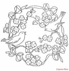 Цветы с птичками и бабочками - схемы для вышивки лентами, гладью.