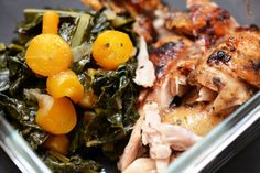 Nom Nom Paleo's eats: Braised Kale and Carrots, Smoked Jalapeno Kraut, leftover Damn Fine Chicken.