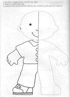nice templete ~ felt book on dressing Preschool Writing, Preschool Learning Activities, Free Preschool, Preschool Activities, Kids Learning, Art Worksheets, Kindergarten Worksheets, Body Parts Preschool, Visual Perception Activities