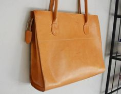 Genuine Leather Tote Bag Large Leather Tote with zipper Tan