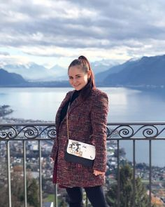 CHLOE.ROXANE - Switzerland : Enjoying the beautiful view over Montreux, Switzerland from the hotel Mirador. Also loving my wintery outfit featuring a colorful bouclé coat that reminds me of a Chanel jacket, my all-black outfit and my Night&Day bag by De Marquet. Boucle Coat, Visit Switzerland, Chanel Jacket, All Black Outfit, Day Bag, Day For Night, Chloe, Colorful, Bags